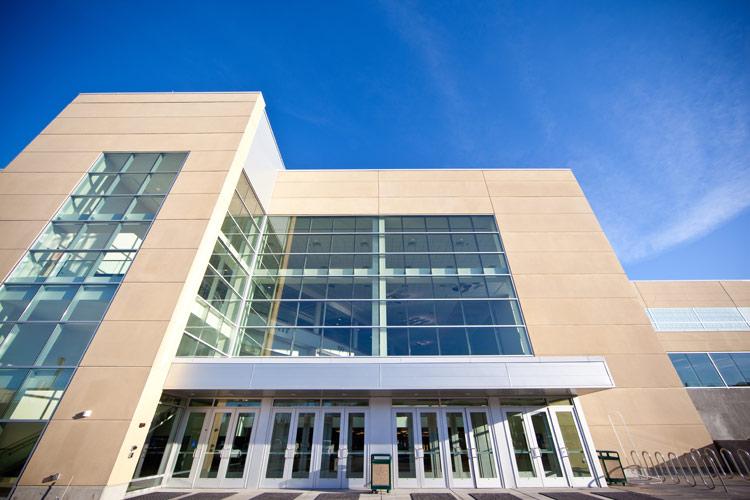 BYU auditorium, detail on carboncast panel on exterior entrance