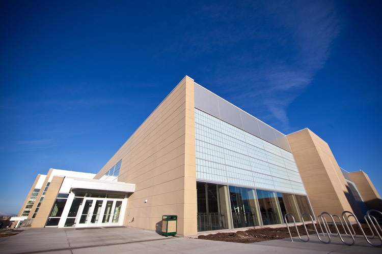 BYU auditorium, detail on precast insulated architectural cladding on exterior