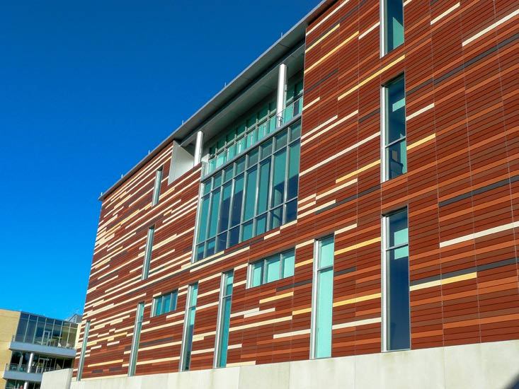 Bloch School education, detail on terra cotta precast High Performance Insulated Wall Panel on exterior