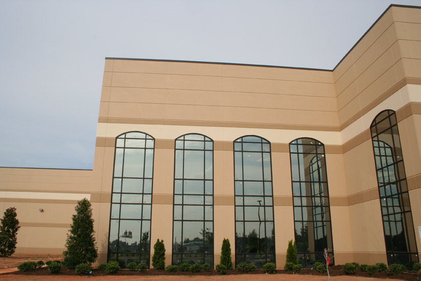 Budweiser Industrial Warehouse, detail of window cut outs, carboncast panel on exterior