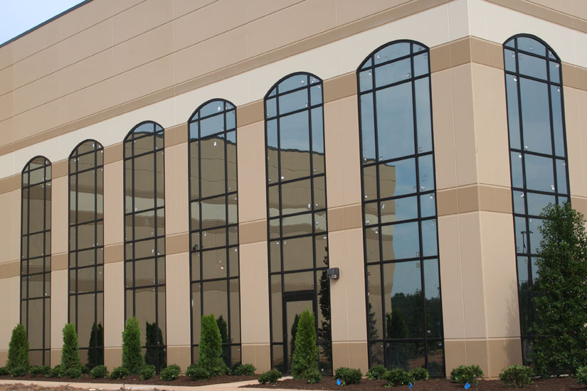 Budweiser Industrial Warehouse, detail of window cut outs, precast sandwich panels on exterior