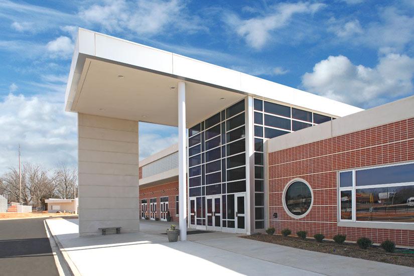 Greenville Carolina High school education, detail on insulated precast sandwich panel on exterior