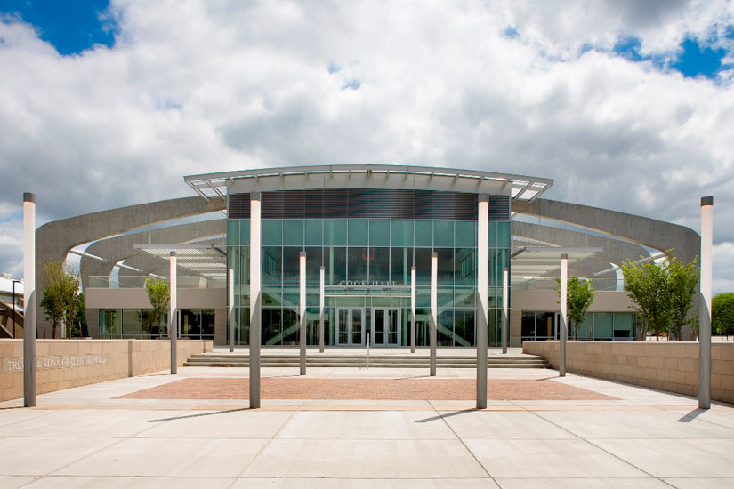 Cook Hall education, high performance insulated wall panel on exterior entrance