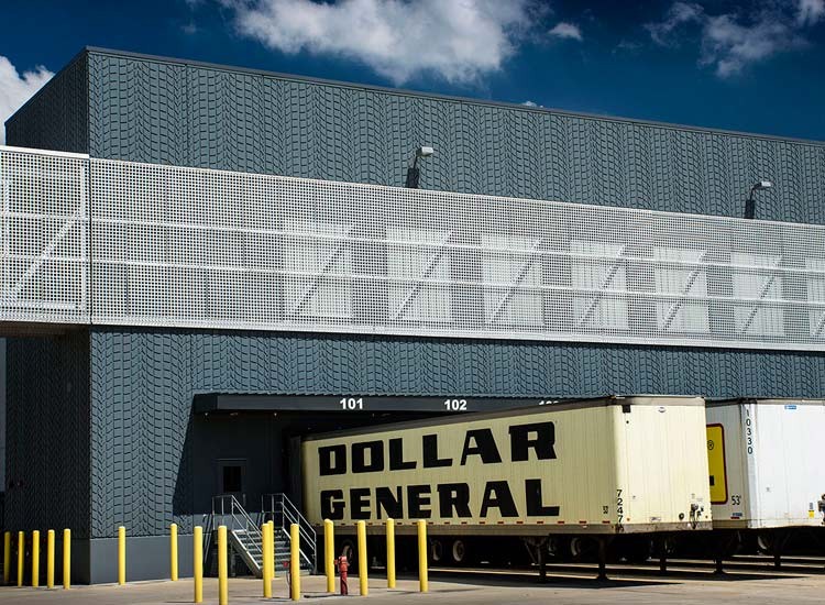 Dollar general industrial warehouse, detail on carboncast high performance insulated wall panel on exterior entrance
