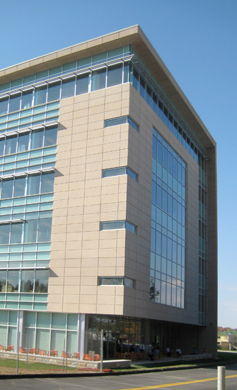 Edward Jones commercial office, detail on architectural precast panel on exterior