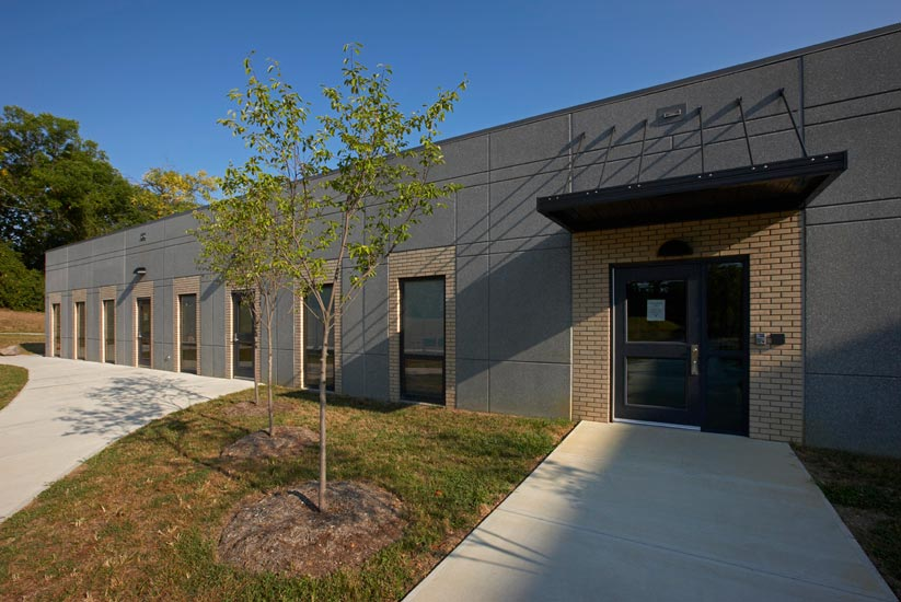 Fairview-Clifton education, detail on high performance insulated wall panel on exterior