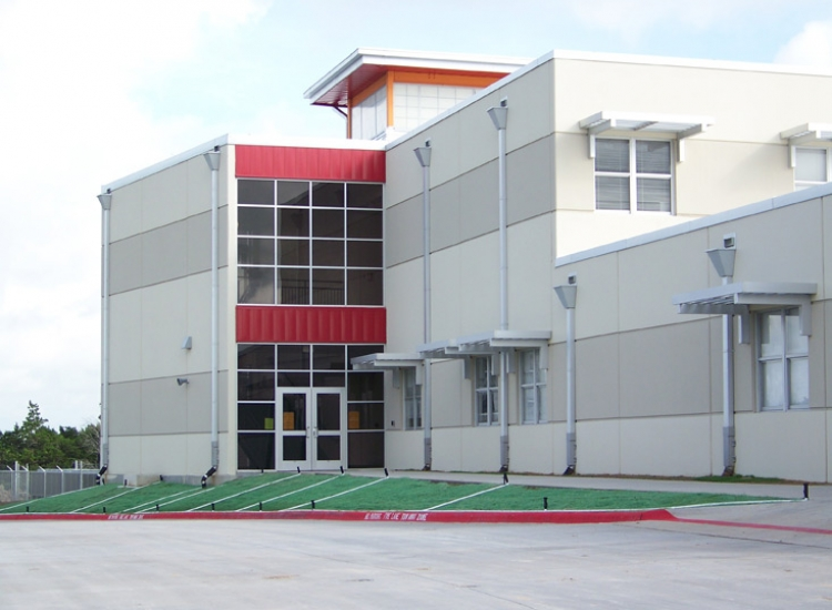 Gus Garcia education, detail on precast wall system on exterior