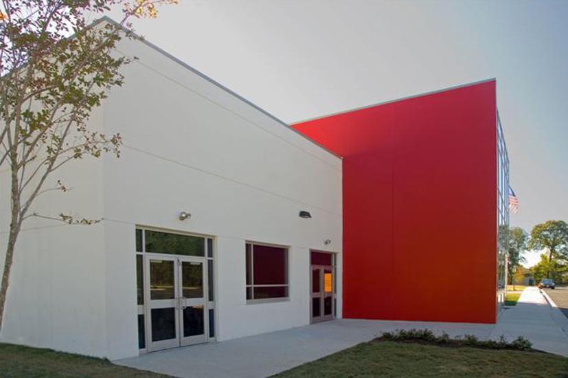 Imagine school education, detail on carboncast enclosure system on exterior