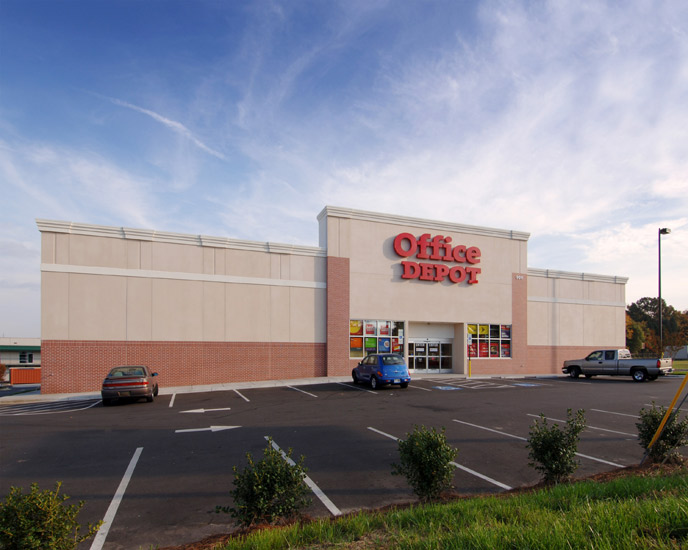 Office depot retail, detail on high performance insulated wall panel on exterior