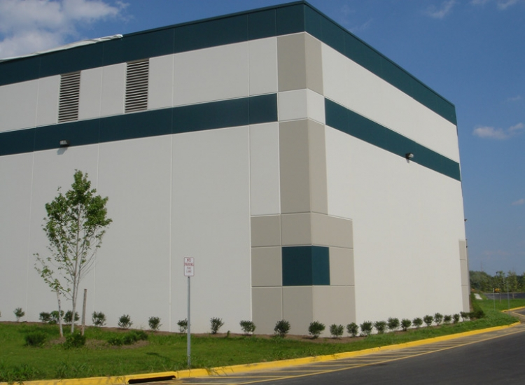 Prologis industrial warehouse, detail on precast panel on exterior