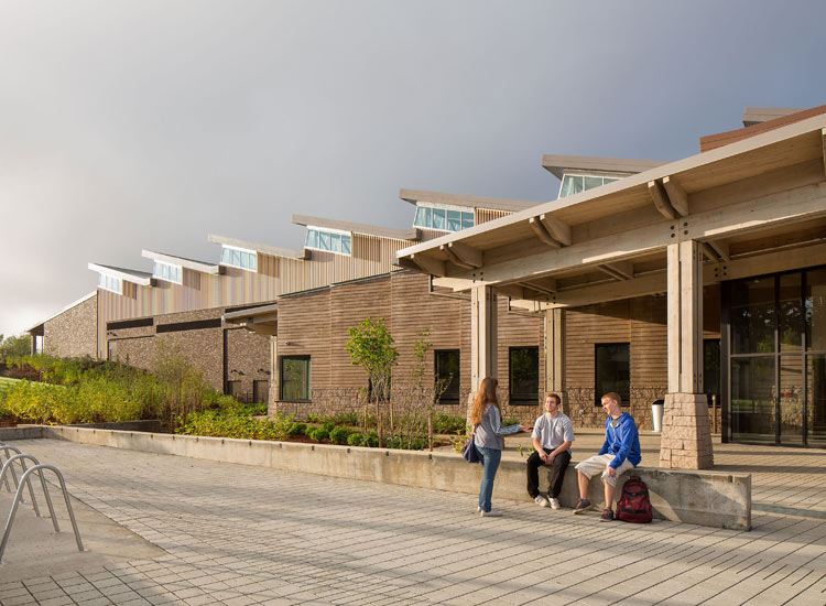 Sandy High School education, carboncast enclosure system on exterior