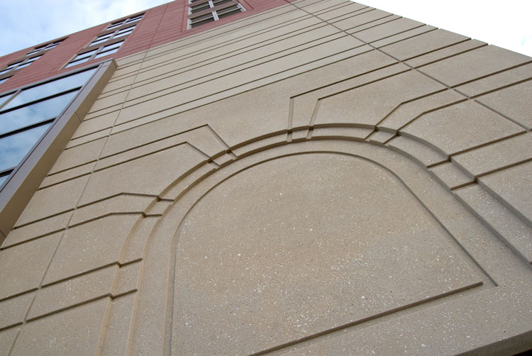 Symphony House multifamily, detail on precast panel on exterior
