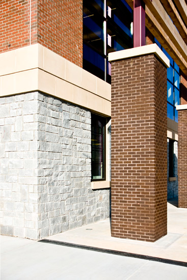 Tucker high school education, detail on precast brick on exterior