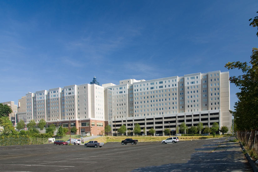 University commons multifamily residential, detail on carboncast enclosure system on exterior