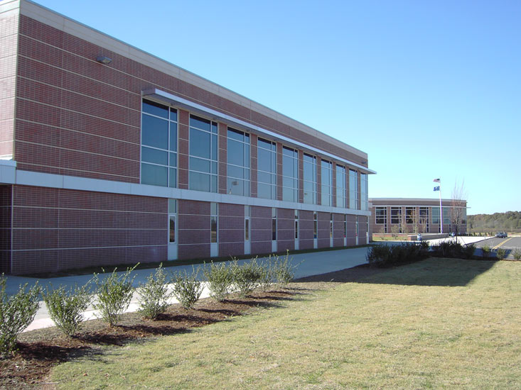 Greenville Woodmont High school education, detail on high performance insulated wall panel on exterior