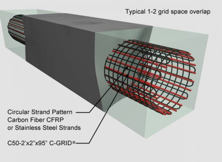 CarbonCast Pile drawing with labels showing carbon fiber or stainless steel strands