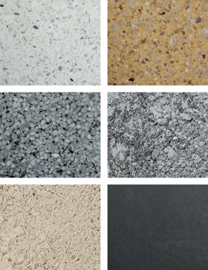grid arrangement of six different textures and colors of finishes for precast concrete surfaces