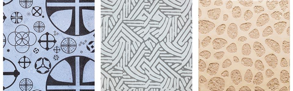 Graphic Concretes samples: crosses, maze pattern, pebble pattern
