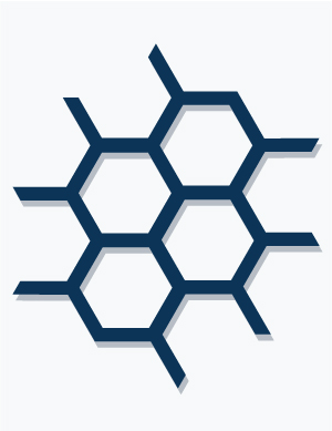 illustration of a molecular grid symbolizing testing and research