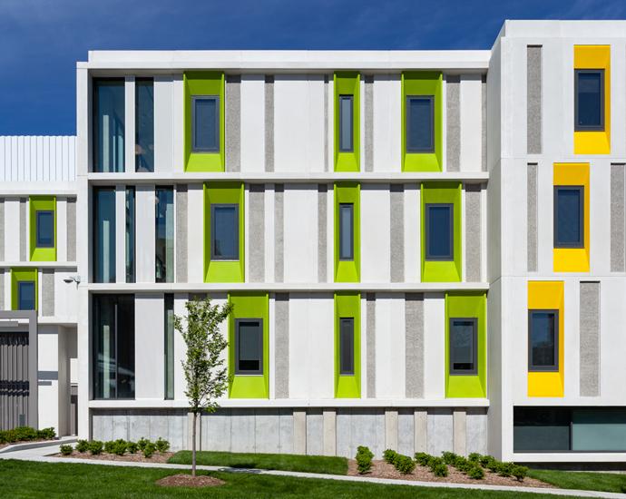 Kansas City Art Institute Student Housing exterior detail with green panels