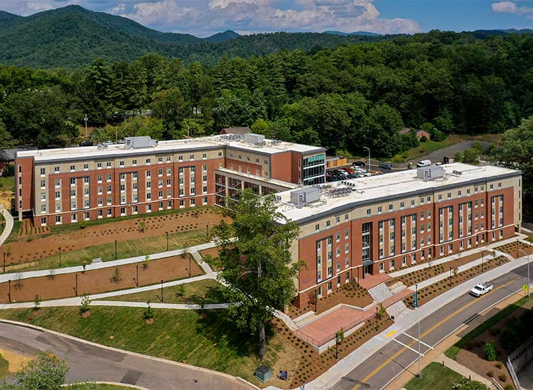 Levern Hamlin Allen Residence Hall, Western Carolina University aerial view with mountains in distance