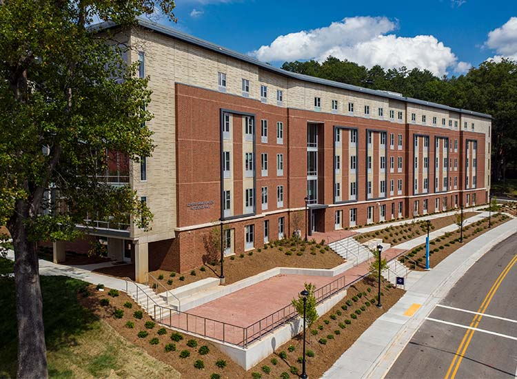 Levern Hamlin Allen Residence Hall, Western Carolina University corner view