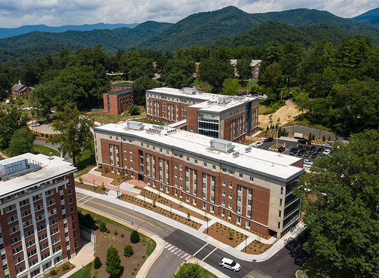 Levern Hamlin Allen Residence Hall, Western Carolina University in high-level aerial view