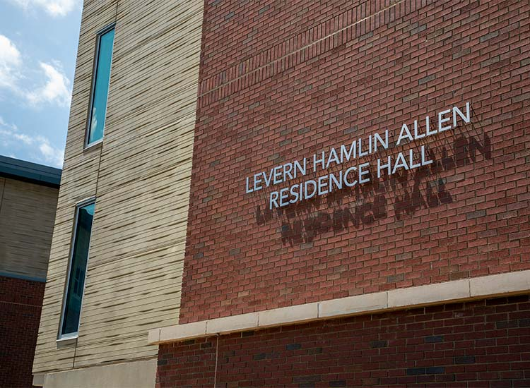Levern Hamlin Allen Residence Hall, Western Carolina University detail including signage