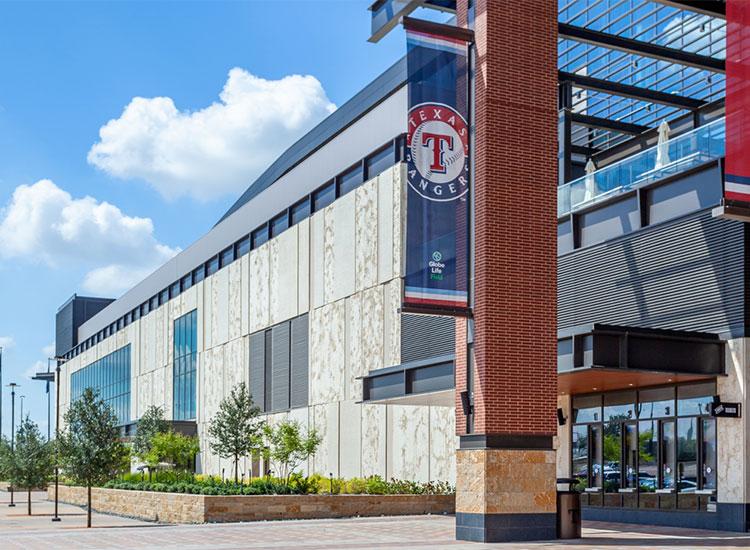 Texas Rangers Stadium Globe Life Field exterior box office detail